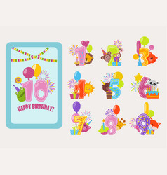 birthday numbers cartoon anniversary birth vector image