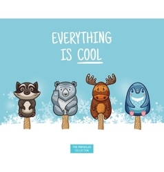Cute animal popsicles ice vector