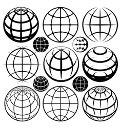globe signs and icons set vector image