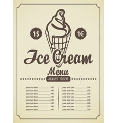 ice cream menu vector image vector image