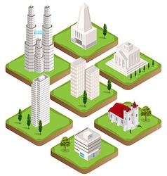 Isometric city buildings collection vector