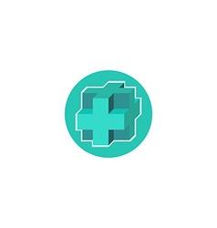 Mockup medical logo 3d blue cross sign hospital vector image