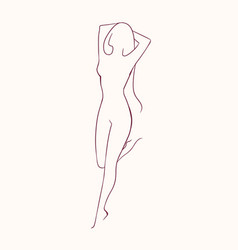 silhouette of young long-haired naked woman vector image