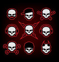 skull logo set on a dark background vector image vector image