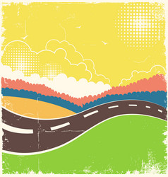 vintage nature background with road on old paper vector image vector image