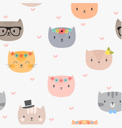 cute seamless pattern with cartoon cats vector image