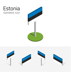 estonia flag set of 3d isometric icons vector image