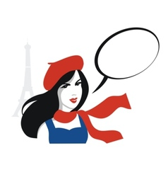 French girl portrait with speech bubble vector image vector image