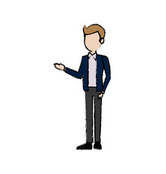 business people standing work office character vector image