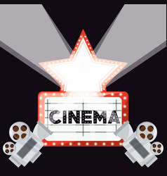 cinema short film with video camera and reel ecene vector image vector image
