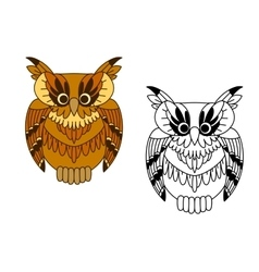 Little cartoon brown owl bird vector image vector image