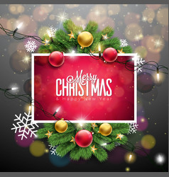 merry christmas on shiny red vector image vector image