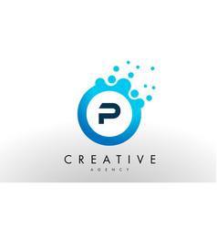p letter logo blue dots bubble design vector image