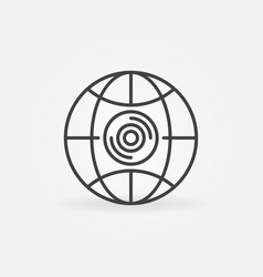 360 camera in earth globe outline icon vector