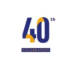 40 th anniversary celebration orange blue vector