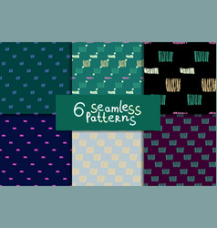 abstract seamless pattern set vector image