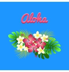 Aloha hibiscus flower as a symbol of hawaii vector