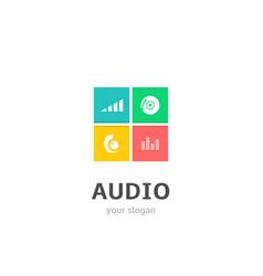Audio icons flat style logo design with volume dj vector
