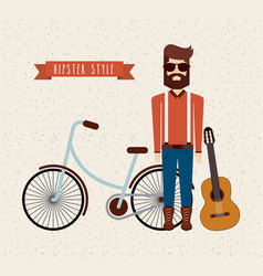 avatar man hipster style isolated icon vector image