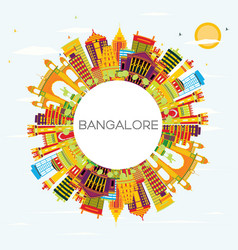 Bangalore skyline with color buildings blue sky vector