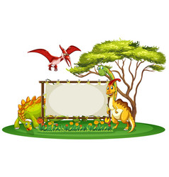 banner template with many types of dinosaurs vector image