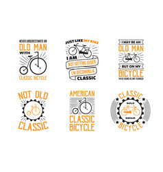 bicycle quote and saying set bicycle quote vector image