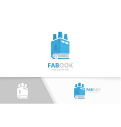 Book and factory logo combination industry vector