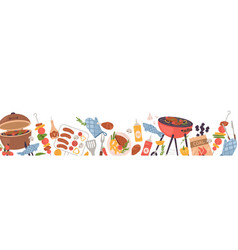 Border with bbq party food long banner vector