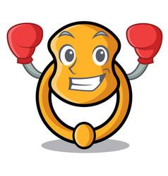 Boxing door knocker isolated on character cartoon vector