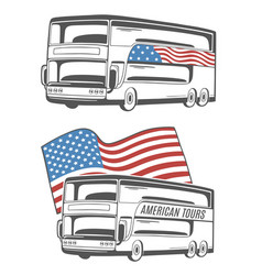 bus with american flag vector image