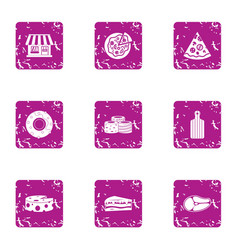 business breakfast icons set grunge style vector image
