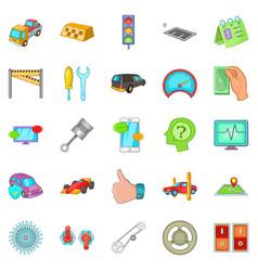 Car overhaul icons set cartoon style vector