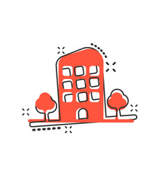 Cartoon building with trees in comic style house vector