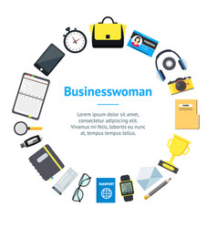 cartoon businesswoman accessory banner card circle vector image