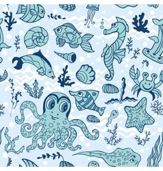 Cartoon Funny Fish seamless patternDoodle Sea vector image