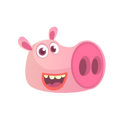 cartoon pig head icon vector image