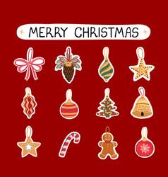 Christmas modern set stickers vector