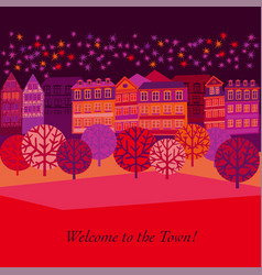cityscape hand drawn greeting card template vector image