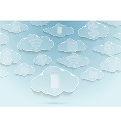 Clouds with icons - computing concept vector image