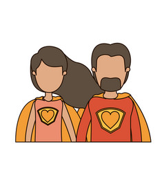 colorful caricature faceless half body couple vector image