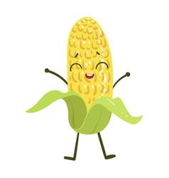Corn cute anime humanized smiling cartoon vector