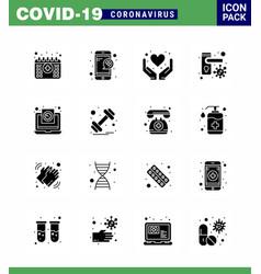 Coronavirus awareness icon 16 solid glyph black vector