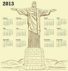 cristo redentor 2013 calendar vintage vector image