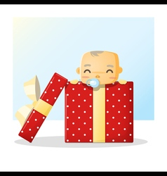 Cute baby inside gift box background vector