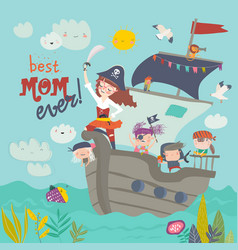 cute mother pirate sailing with her kids in ship vector image