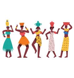 Dancing african aboriginal women female african vector