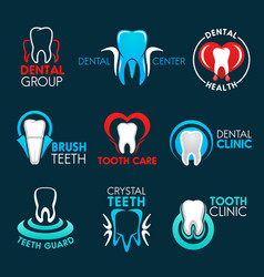 Dental clinic or dentist office symbols with tooth vector