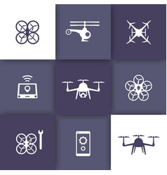 Drones quadrocopters copters icons vector