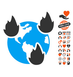 Earth disasters icon with dating bonus vector