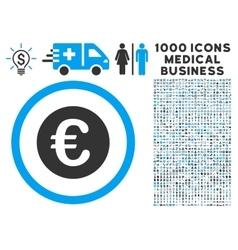 Euro Coin Icon with 1000 Medical Business vector image